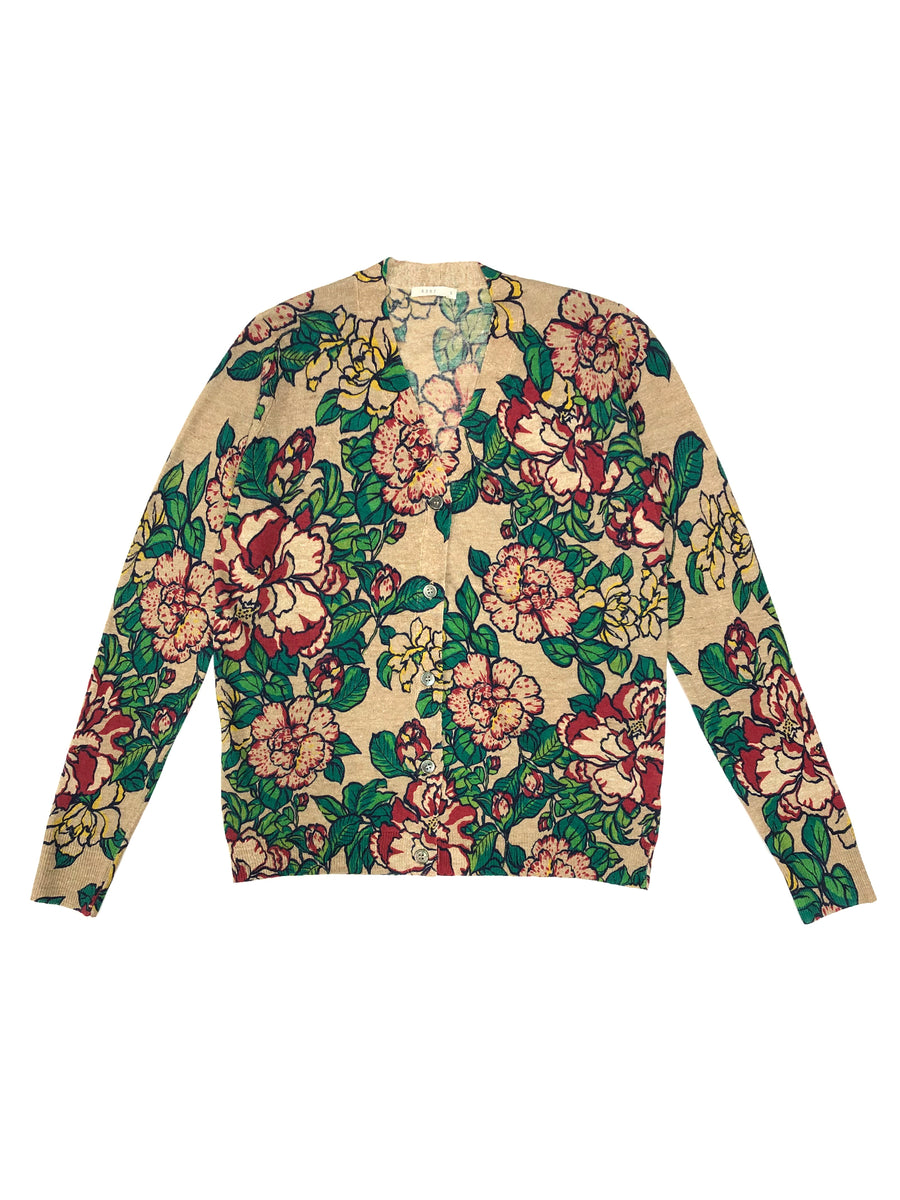 Floral Boy Cardigan in Natural