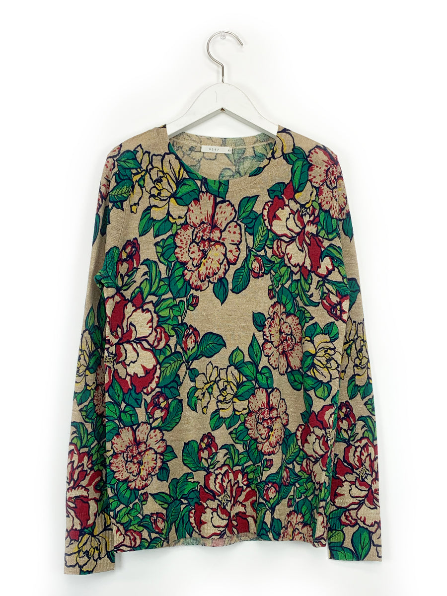 Floral Crewneck in Natural