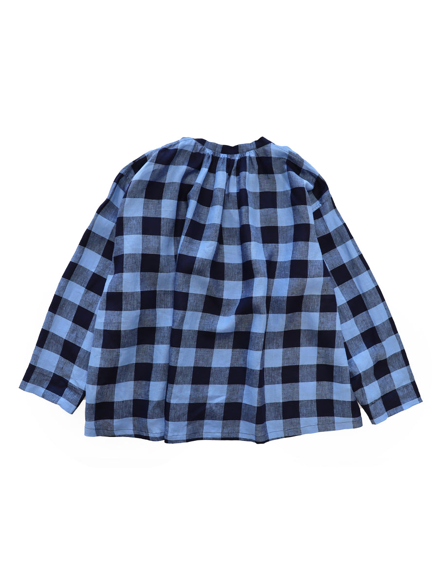 Peasant Shirt in Blue Plaid