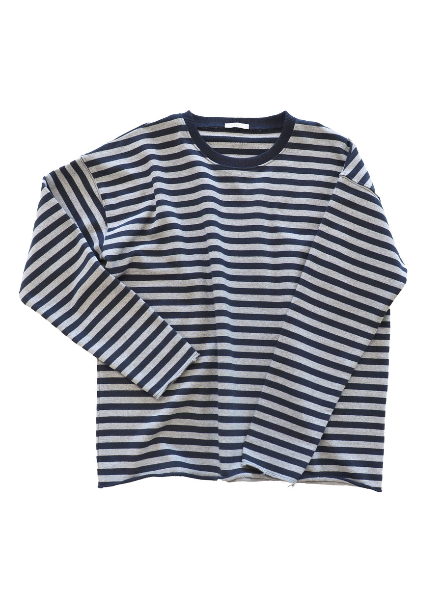 Cut Sweat in Black/Grey Stripe