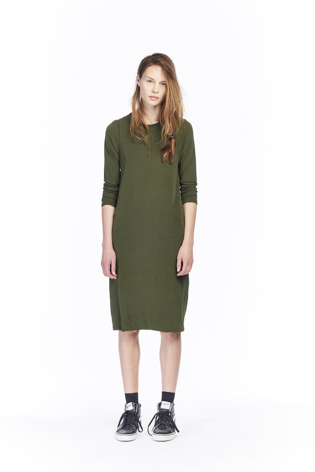 NSW013S Pointelle Dress - Army green