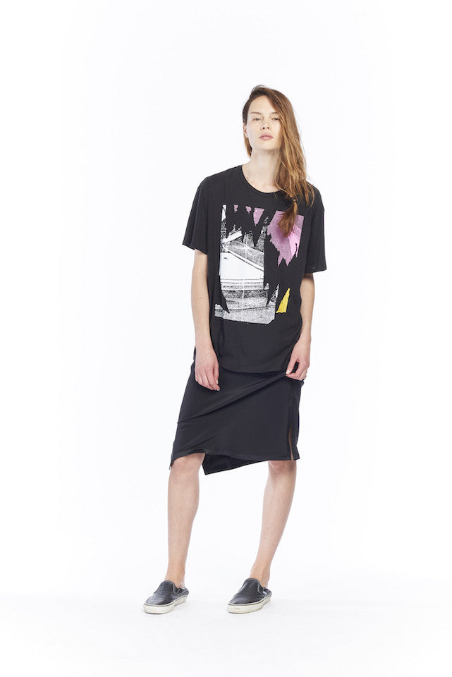 NT062P Graphic Man T - Black, ND115 Contrast Slip Dress - Black