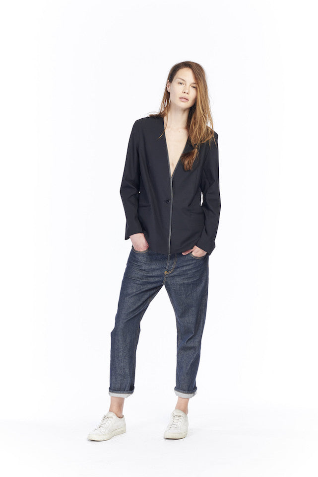 NJ050 Overlap Blazer - Black, NP029 Shorty - Selvedge rinse