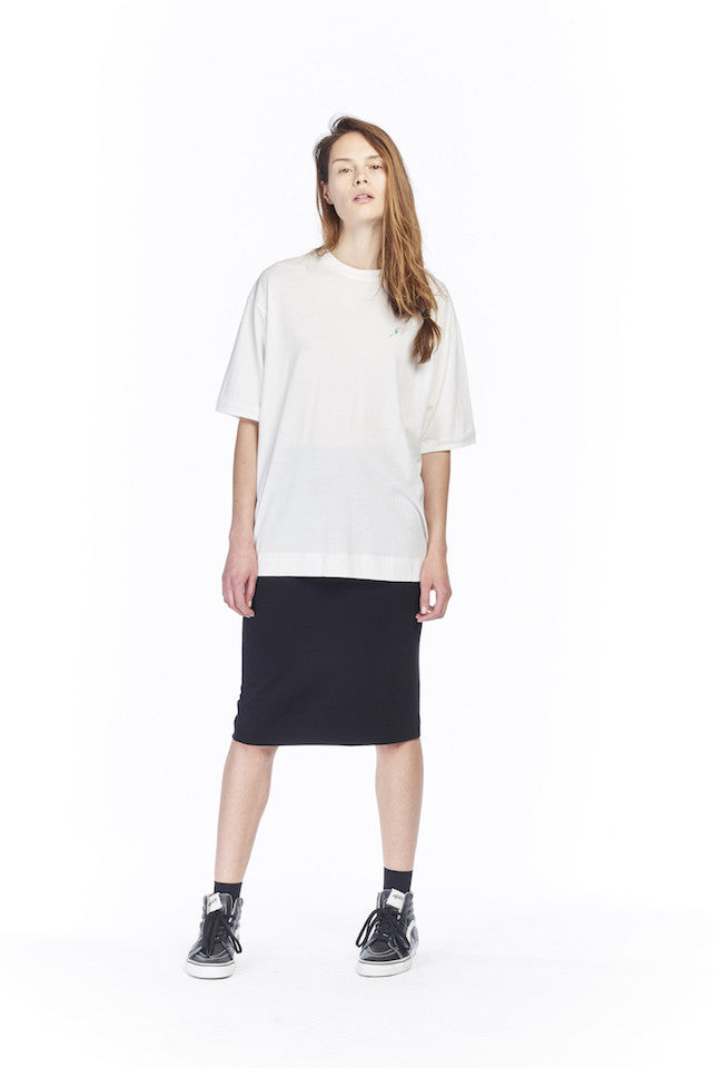 NT185 Sport Tee - White, NS022J Stretch pencil skirt - Black