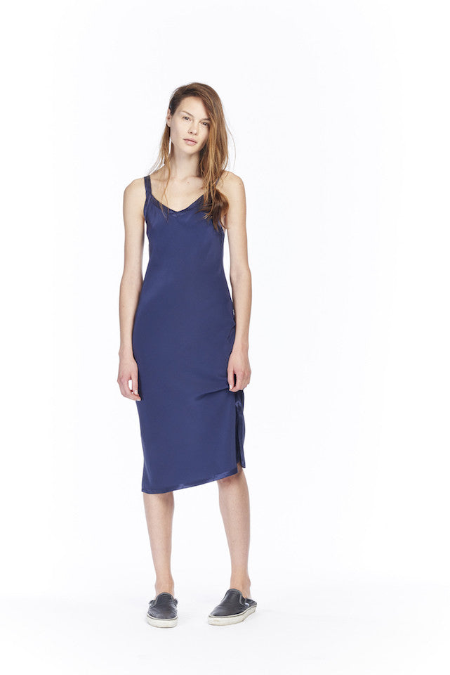 ND115 Contrast Slip Dress- Navy