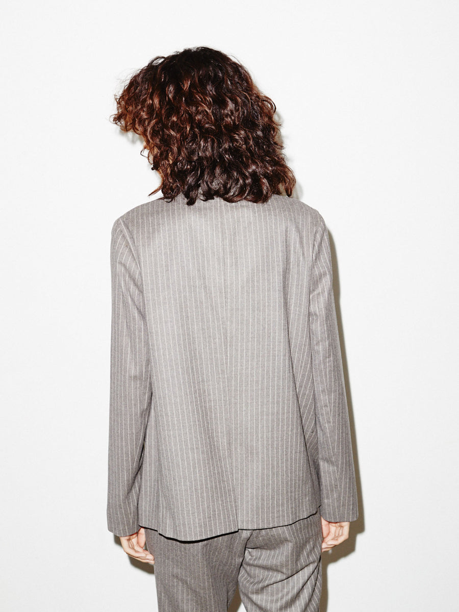 Perfect Blazer in Oatmeal Stripe