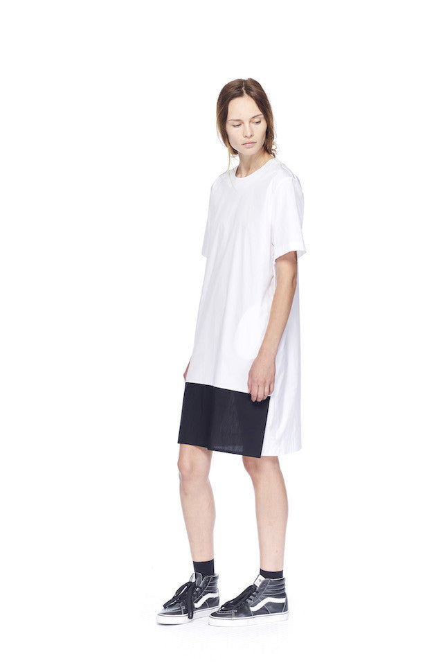 ND087 Contrast Shift Dress- White/black