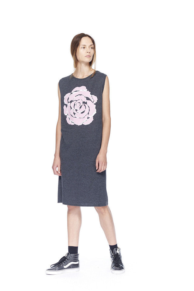 ND080R Rose Muscle Dress- Black/pink