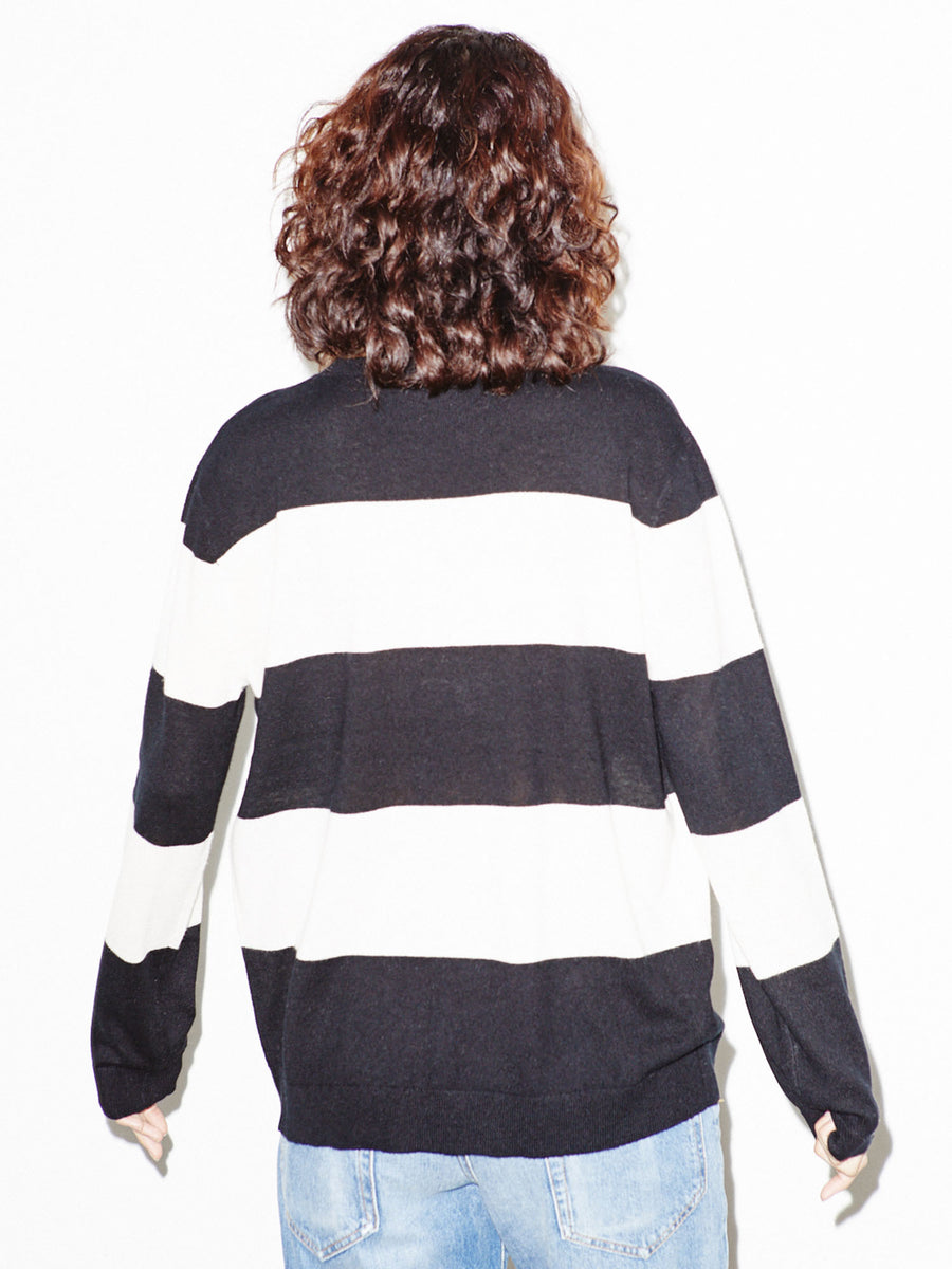 Black and White Striped Crewneck