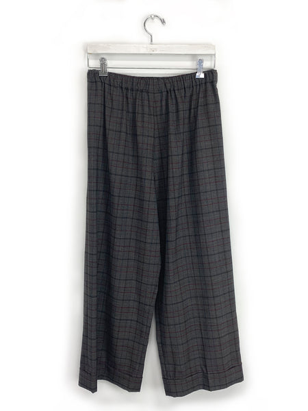 Cuffed Wide Leg Pull-On in Grey Plaid