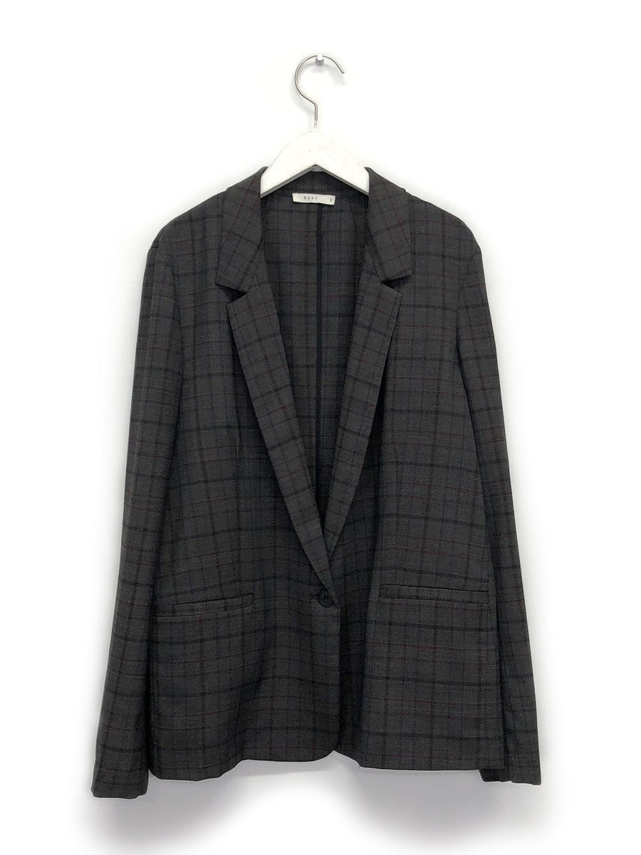 Mini Lapel Blazer in Grey Plaid