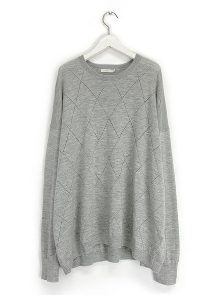 Pointelle Sweater in Heather Grey