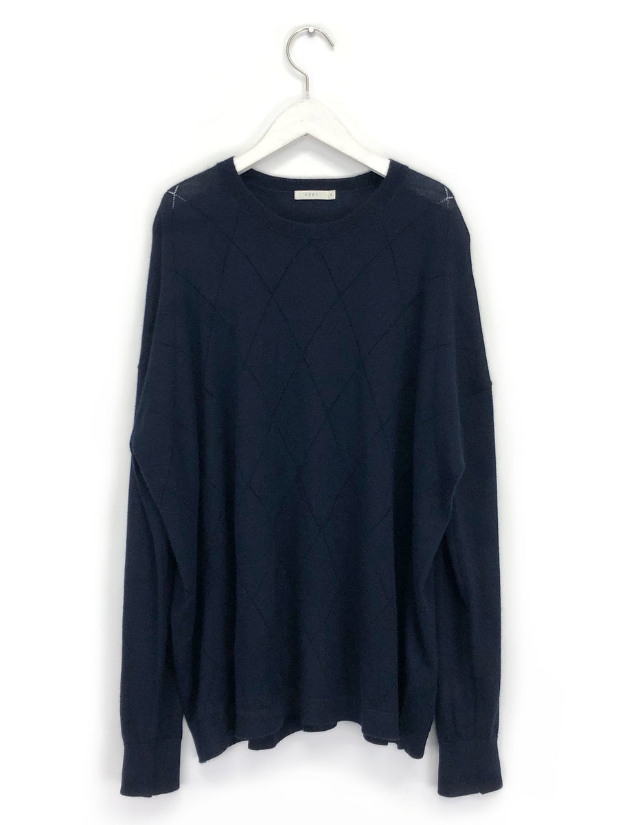 Pointelle Sweater in Navy
