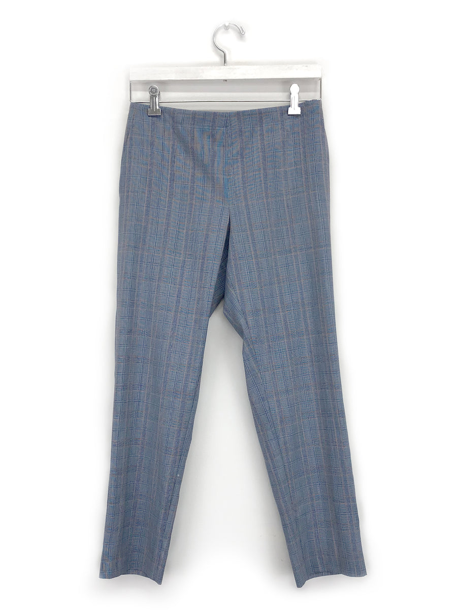 Pull-On Trouser in Blue Plaid