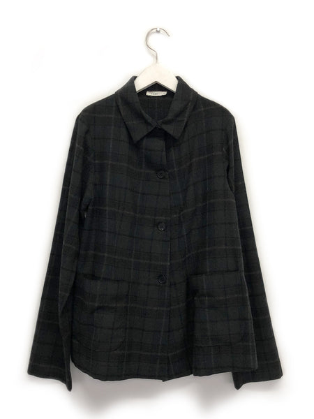 Shirt Jacket In Brown Plaid