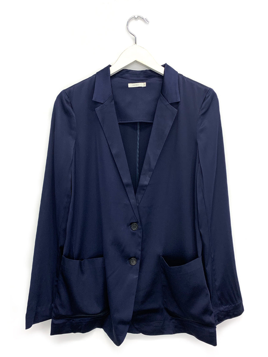 Silk Blazer in Navy