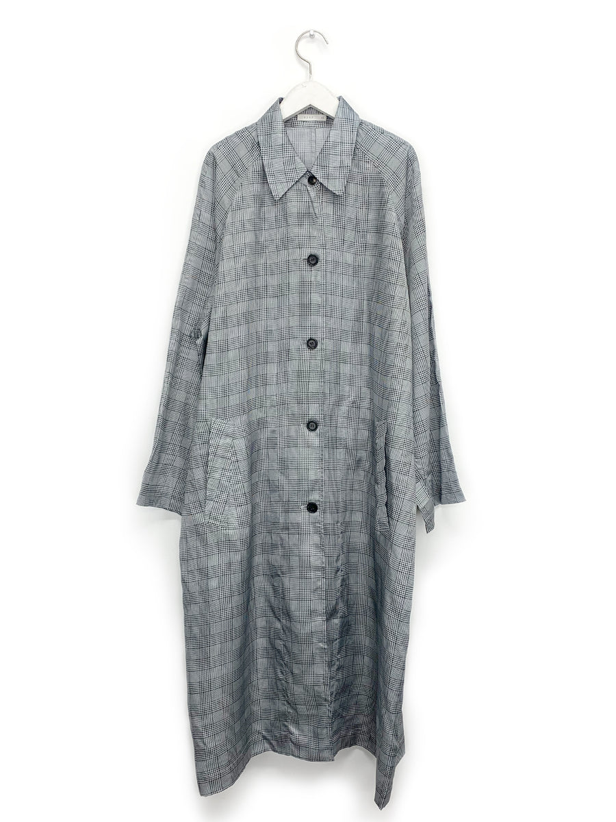 Grey Plaid Raglan Trench