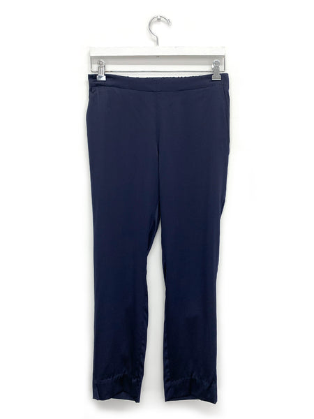 Navy Silk Pull On Trouser
