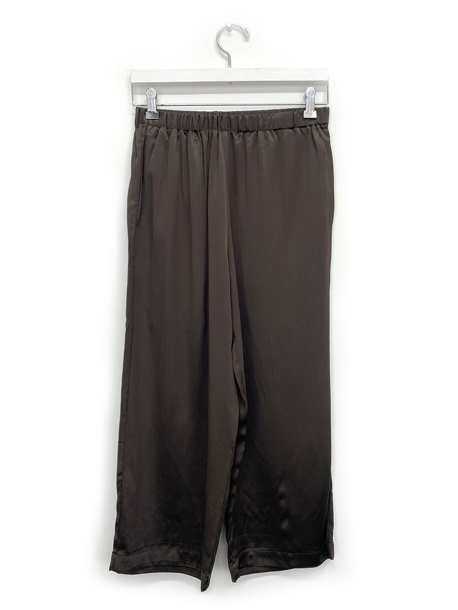 Silk Wide Leg Pull On in Dark Taupe
