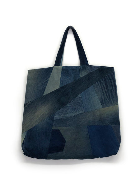 Slash Tote in Blue Patchwork