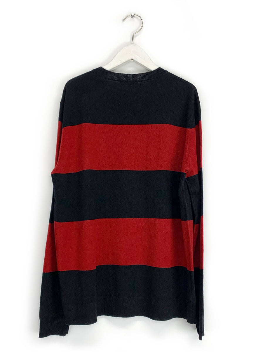 Red and Black Striped Crewneck