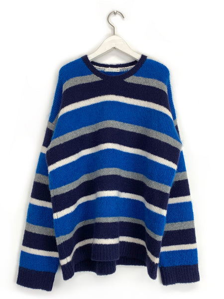 Cashmere Multi-Stripe Crewneck in Blue
