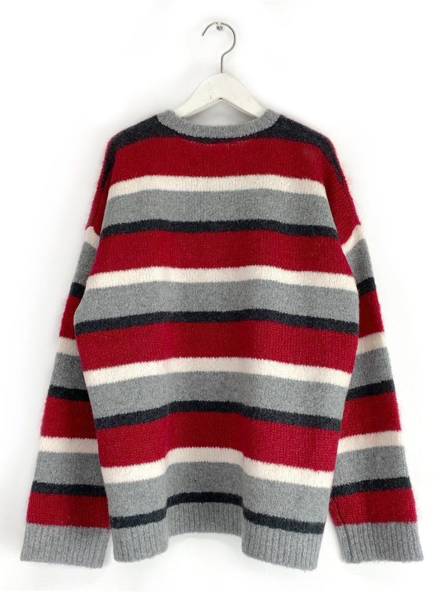 Cashmere Multi-Stripe Crewneck in Red