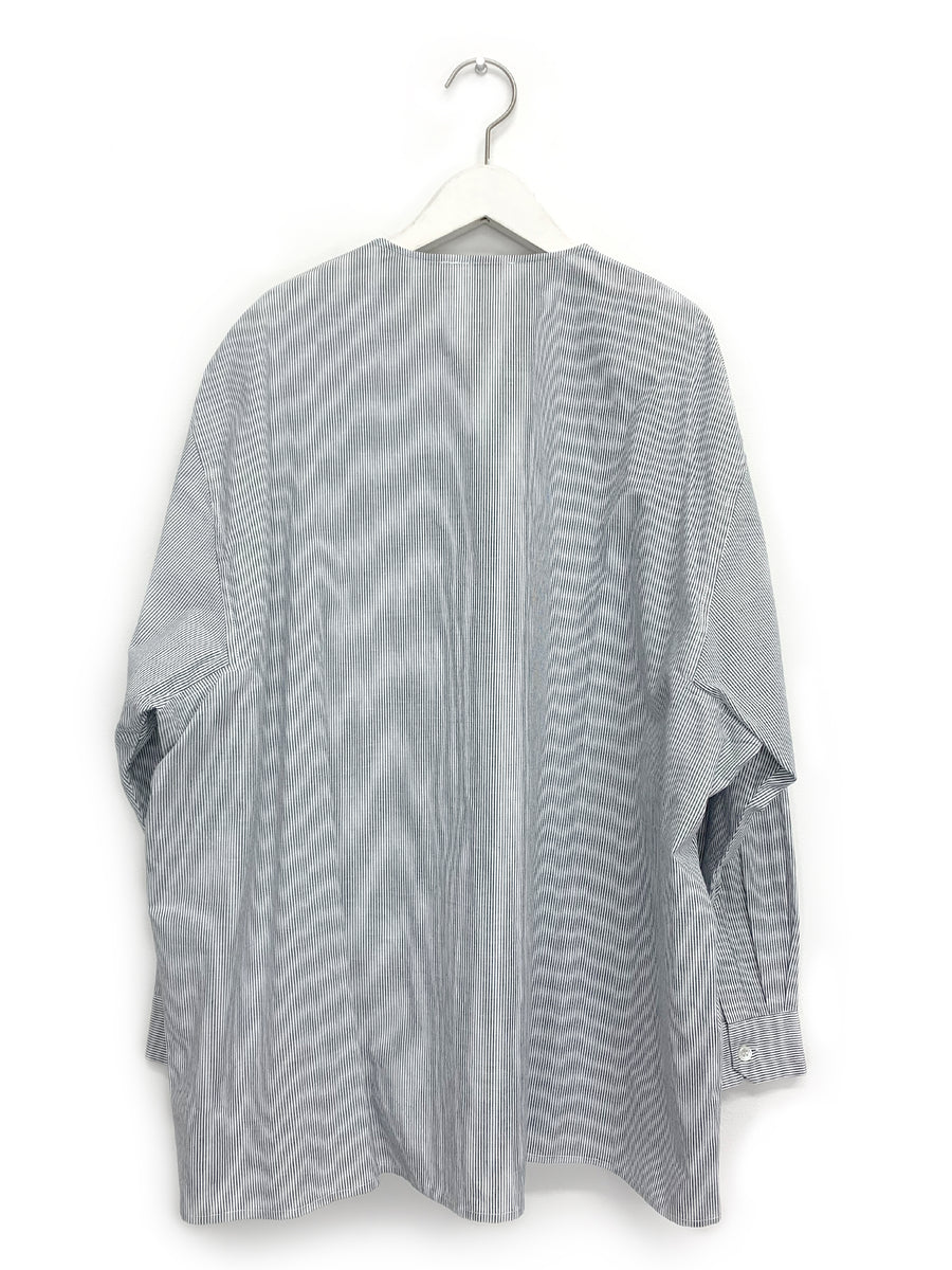 Striped Oversized Collarless Shirt