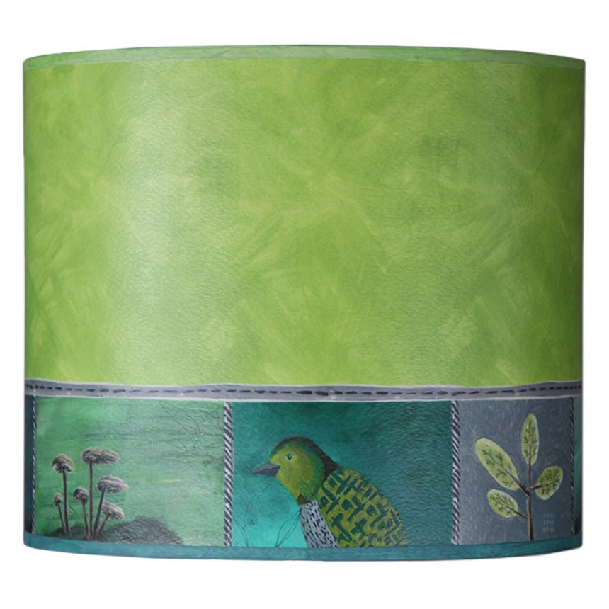 Large Oval Drum Lamp Shade in Woodland Trails in Leaf
