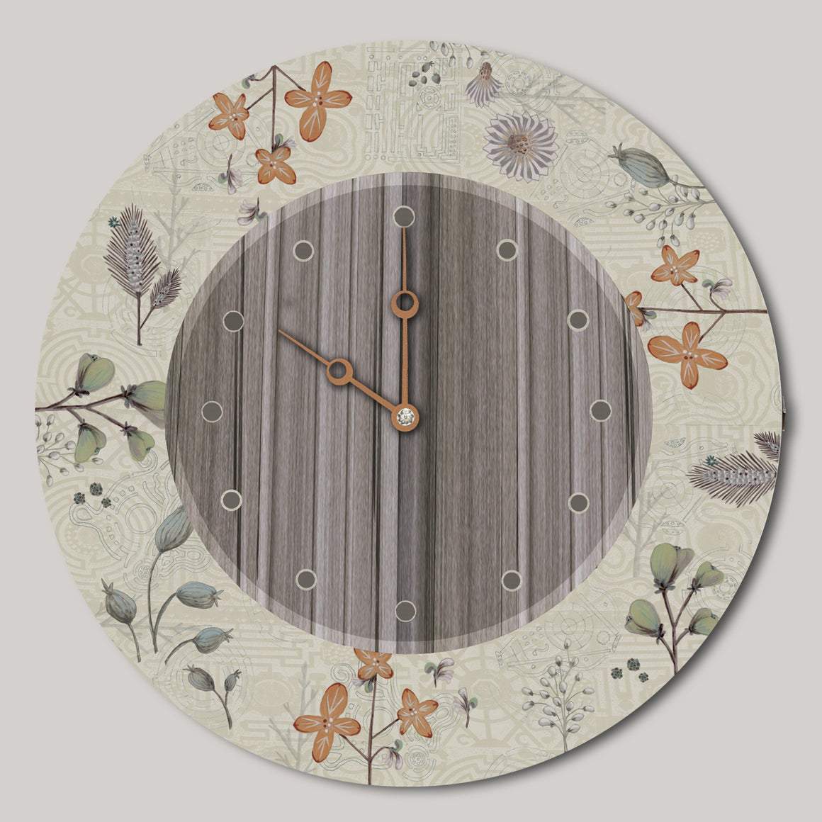 Round Wall Clock in Flora and Maze