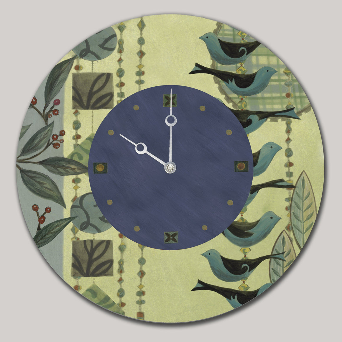 Round Wall Clock in New Capri Periwinkle