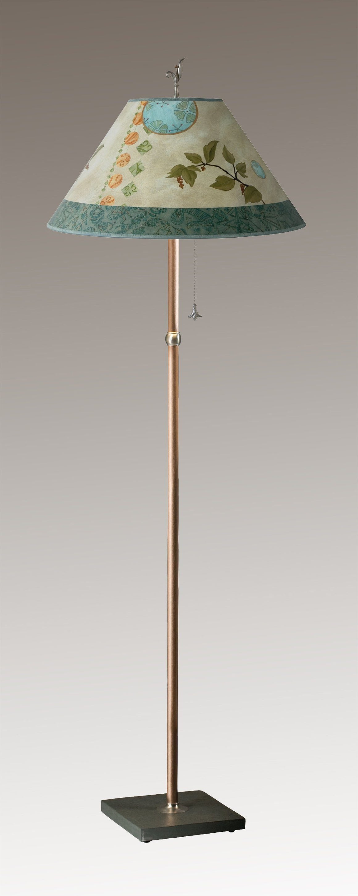 Copper Floor Lamp on Vermont Slate Base with Large Conical Shade in Celestial Leaf