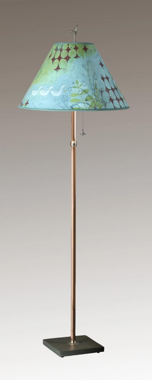 Copper Floor Lamp on Vermont Slate Base with Large Conical Shade in Dream Bird