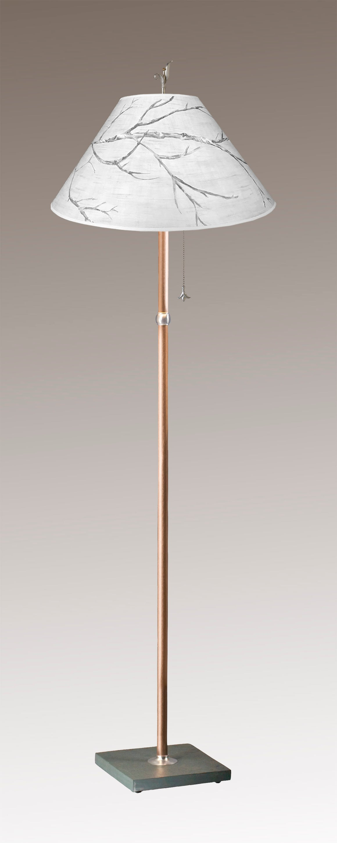 Copper Floor Lamp on Vermont Slate Base with Large Conical Shade in Sweeping Branch