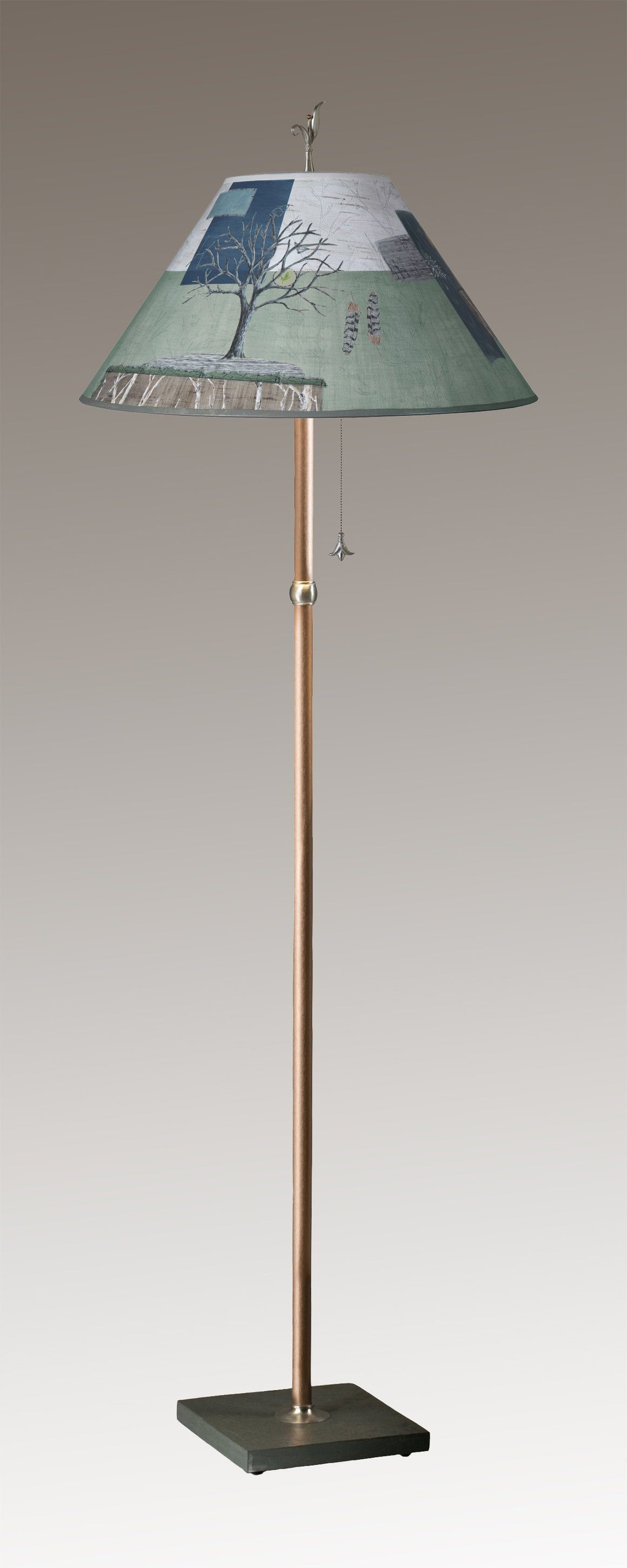 Copper Floor Lamp on Vermont Slate Base with Large Conical Shade in Wander in Field