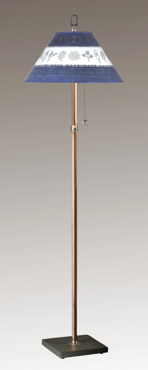 Copper Floor Lamp on Vermont Slate Base with Large Conical Shade in Woven Sprig & Sapphire