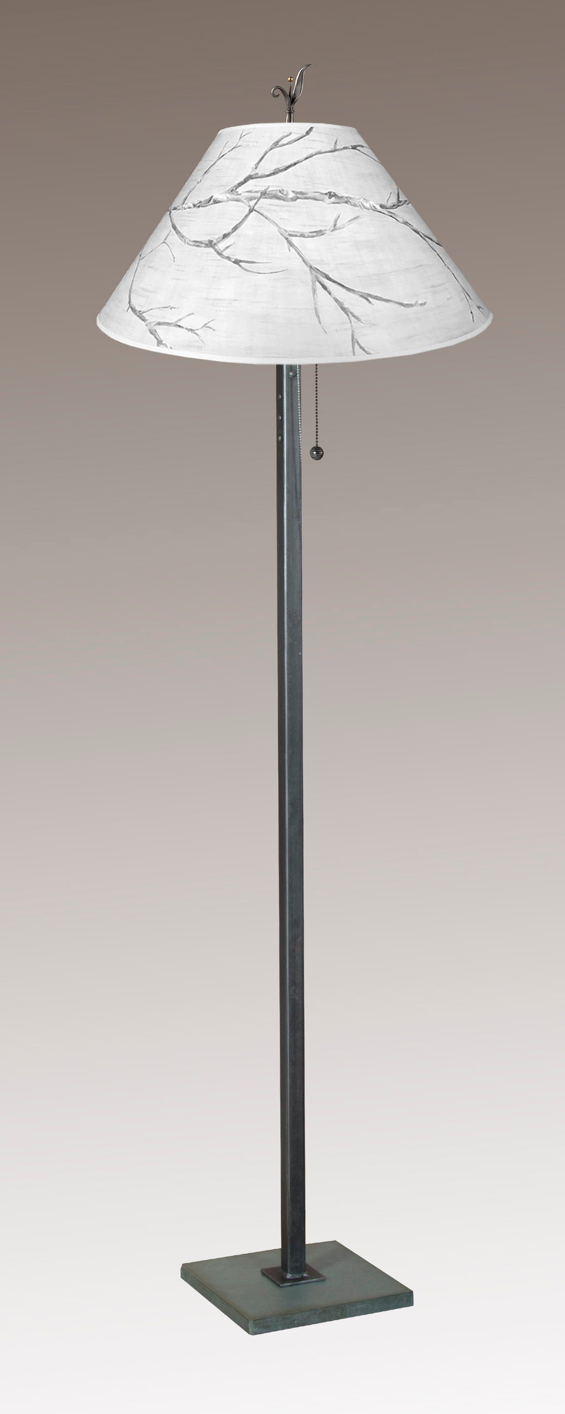Steel Floor Lamp on Italian Marble with Large Conical Shade in Sweeping Branch
