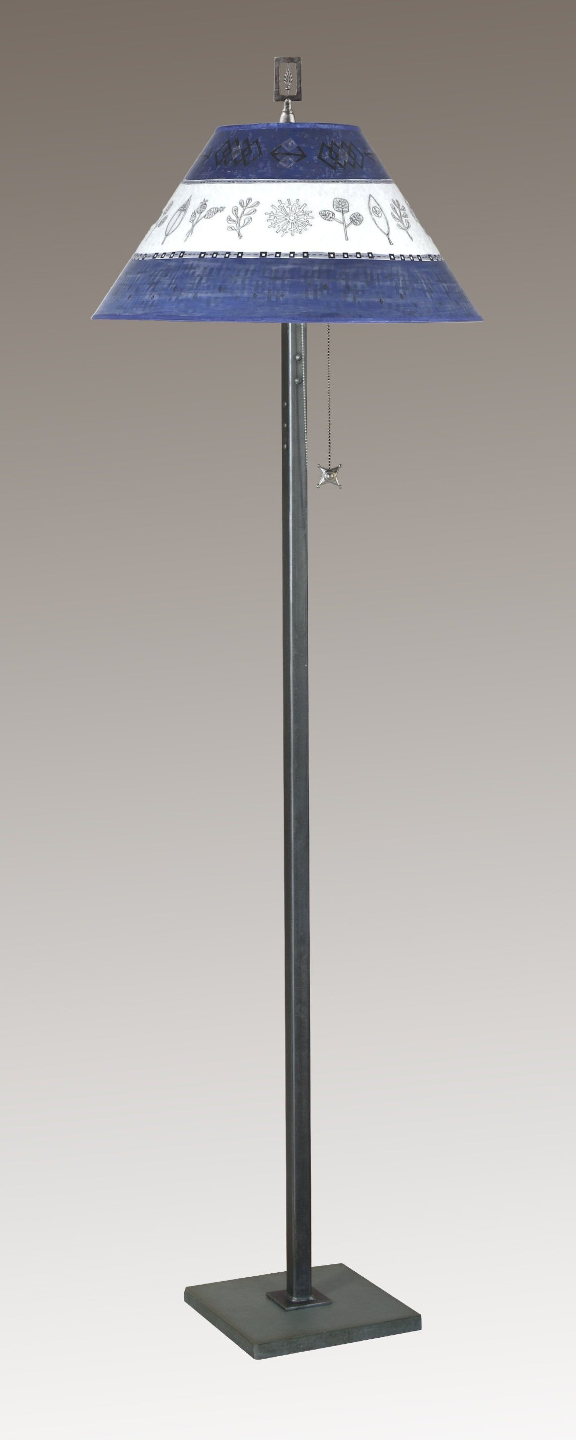 Steel Floor Lamp on Italian Marble with Large Conical Shade in Woven Sprig & Sapphire