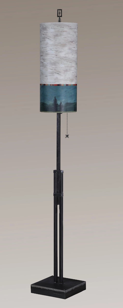 Adjustable-Height Steel Floor Lamp with Large Tube Shade in Birch Midnight