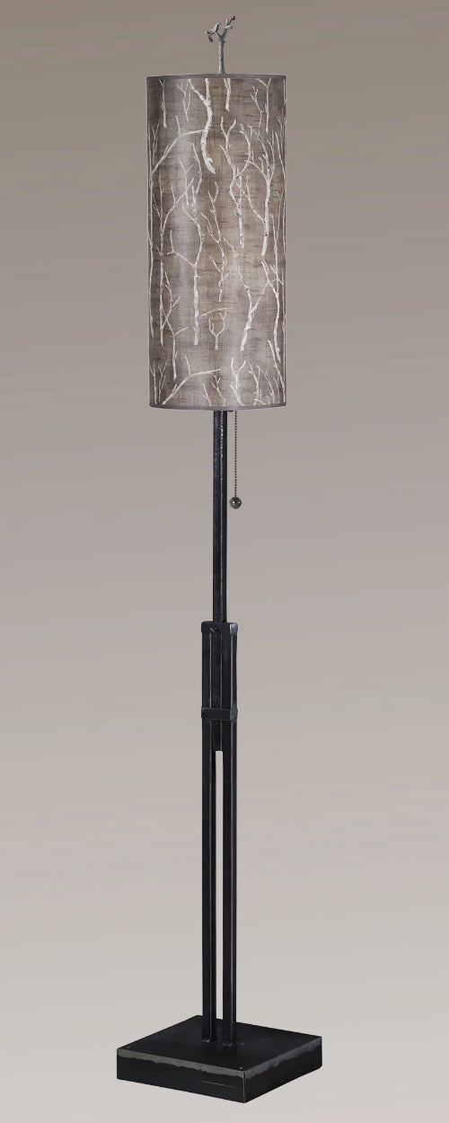 Adjustable-Height Steel Floor Lamp with Large Tube Shade in Twigs