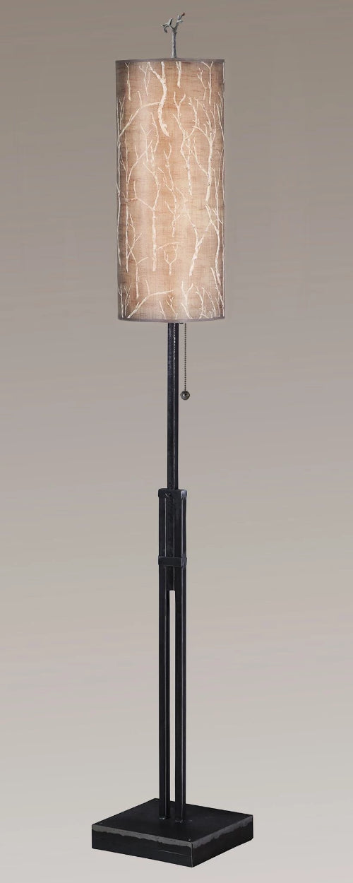 buy popular 1613a c2484 Adjustable-Height Steel Floor Lamp with Large Tube Shade in Twigs