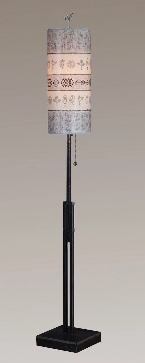 Adjustable-Height Steel Floor Lamp with Large Tube Shade in Woven Sprig & Mist