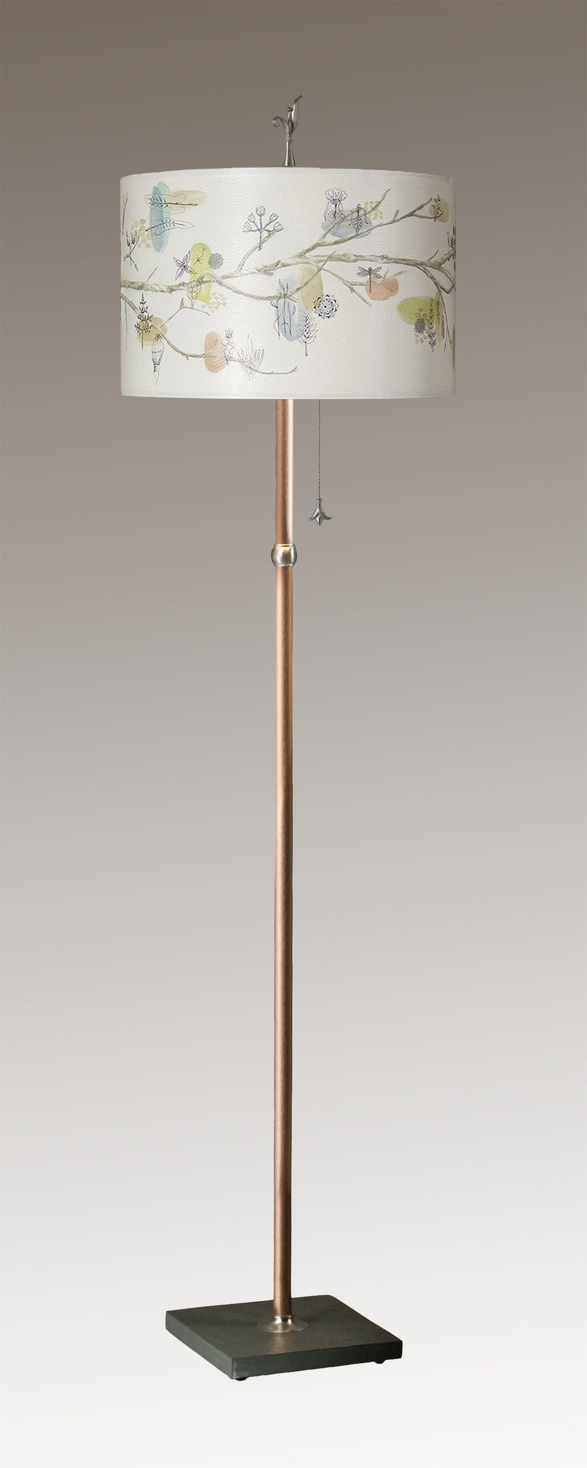 Copper Floor Lamp on Vermont Slate with Large Drum Shade in Artful Branch