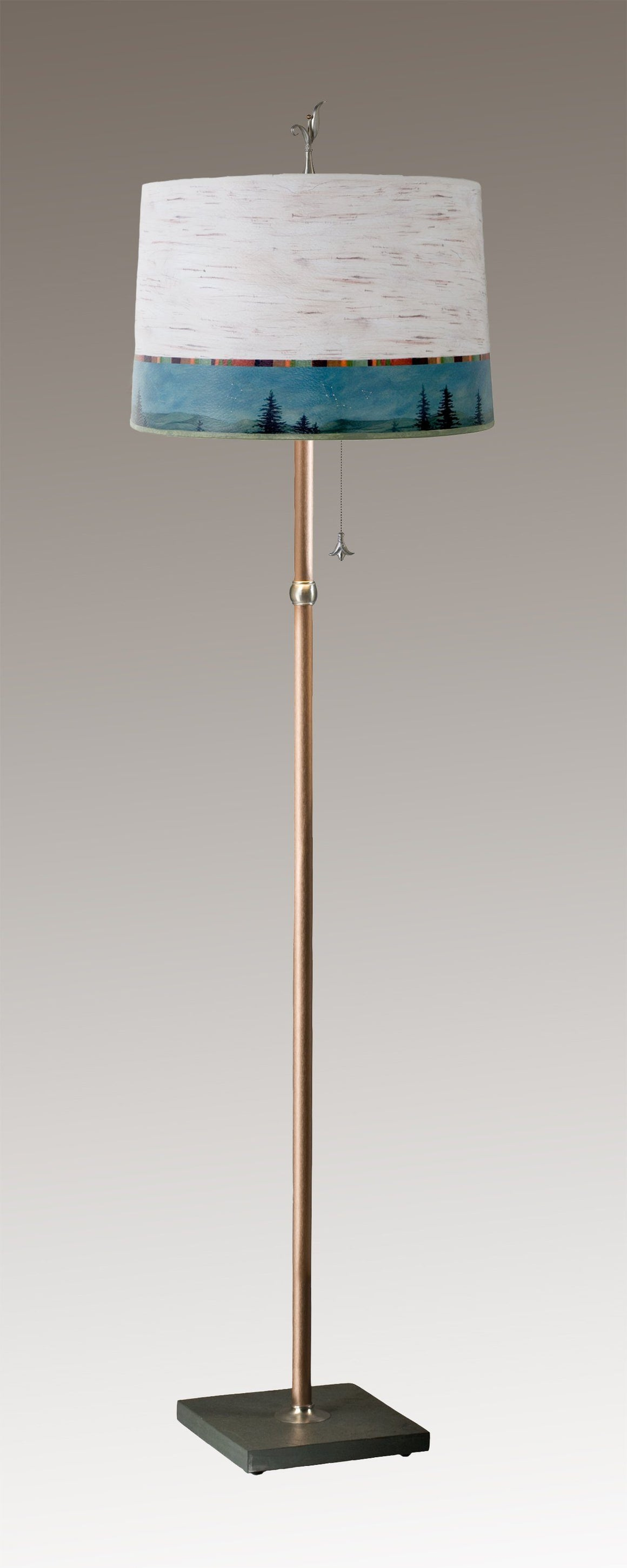 Copper Floor Lamp on Vermont Slate with Large Drum Shade in Birch Midnight