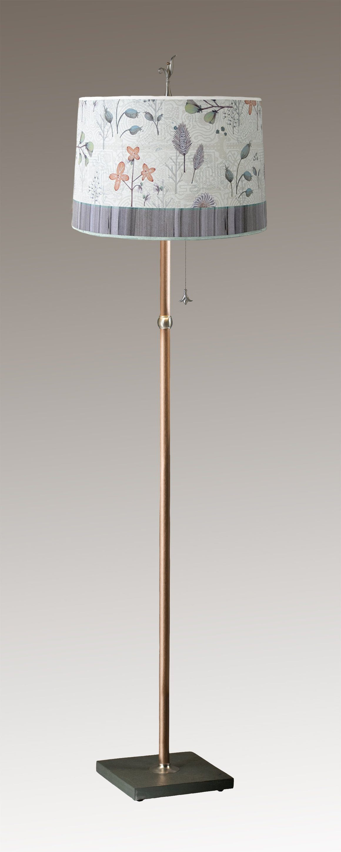 Copper Floor Lamp on Vermont Slate with Large Drum Shade in Flora and Maze