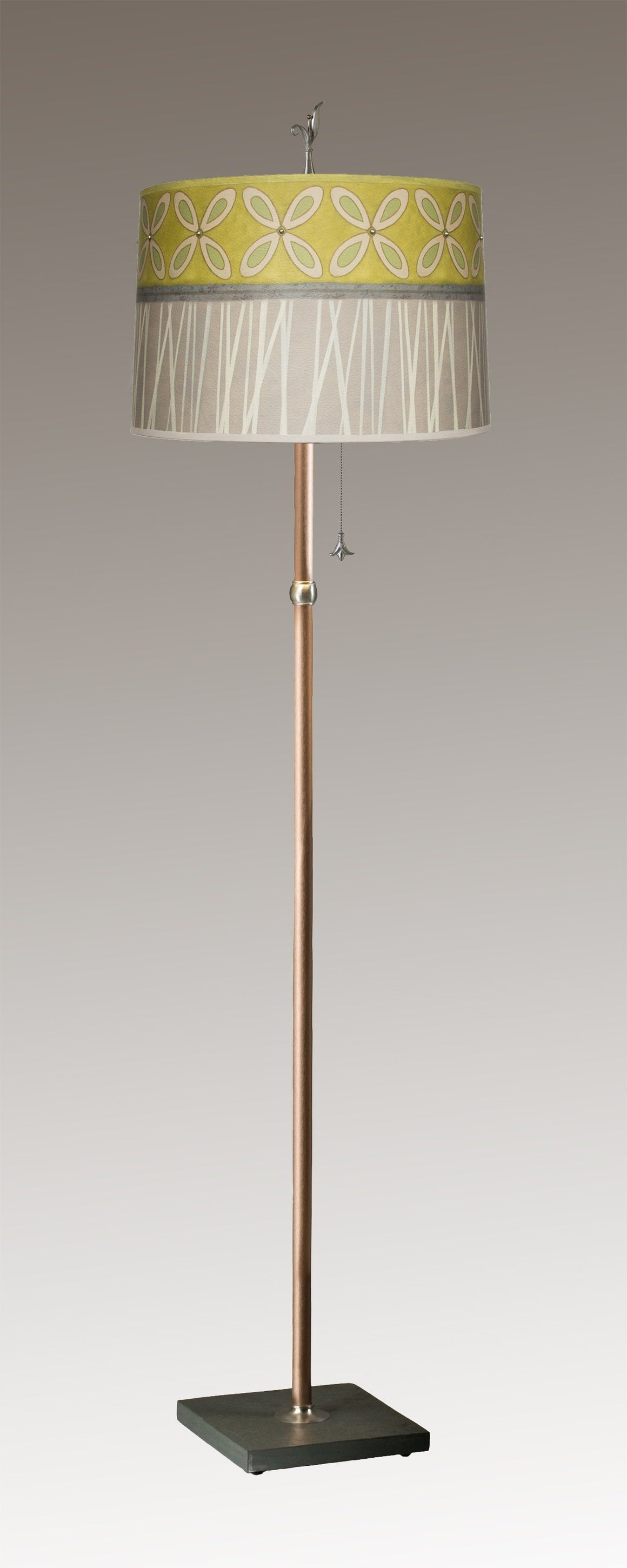 Copper Floor Lamp on Vermont Slate with Large Drum Shade in Kiwi
