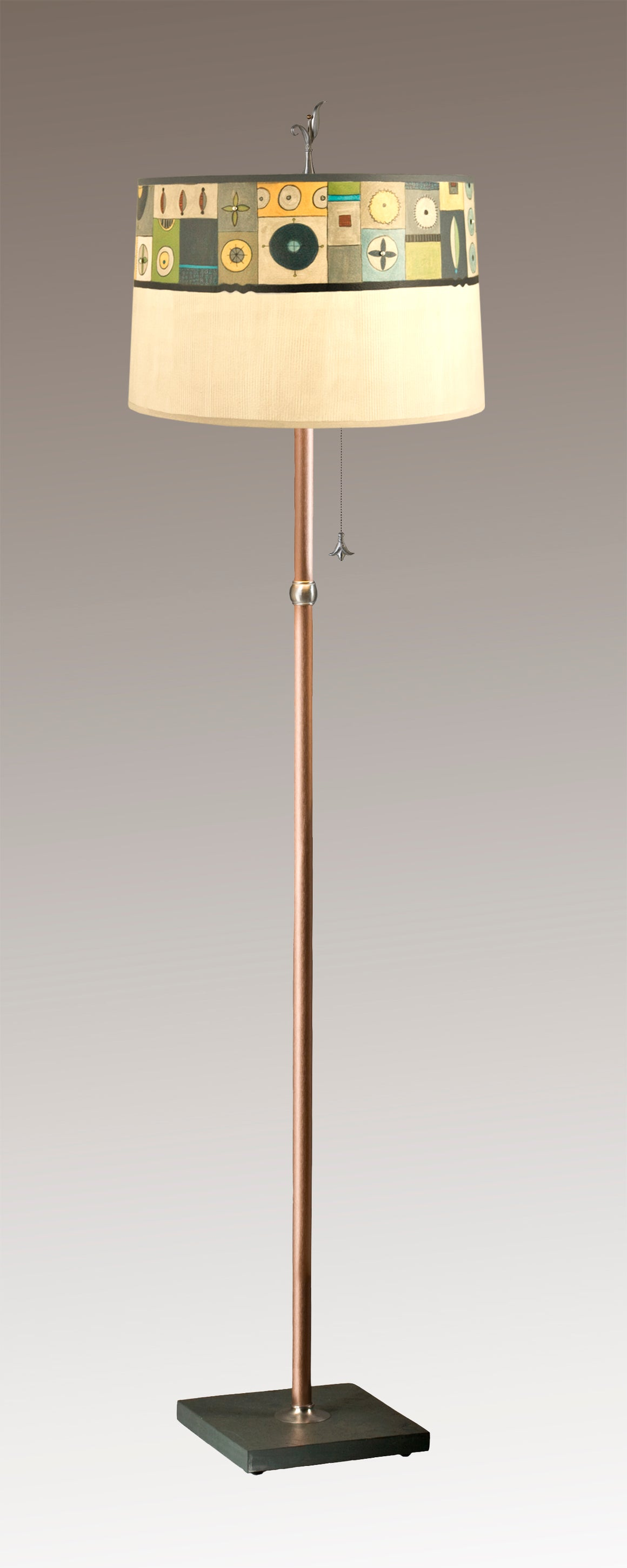 Copper Floor Lamp on Vermont Slate with Large Drum Shade in Lucky Mosaic Oyster