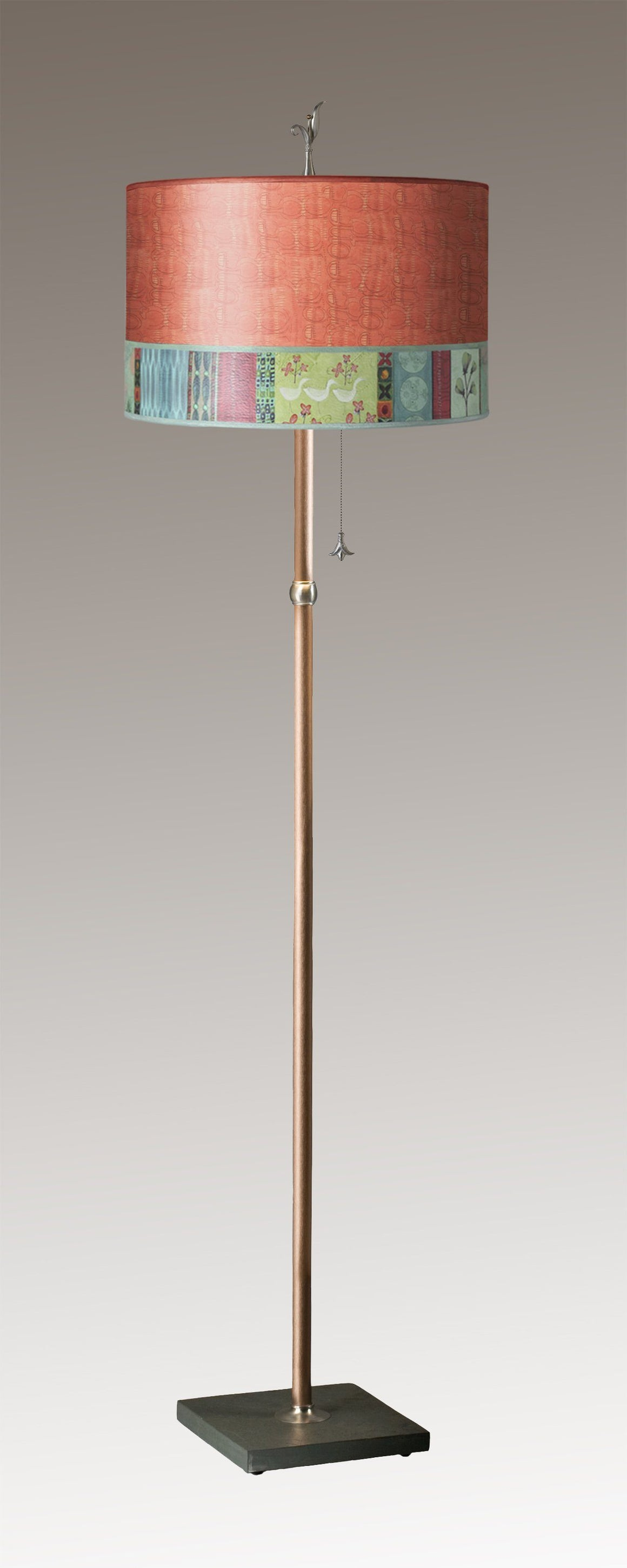 Copper Floor Lamp on Vermont Slate with Large Drum Lampshade in Melody in Coral