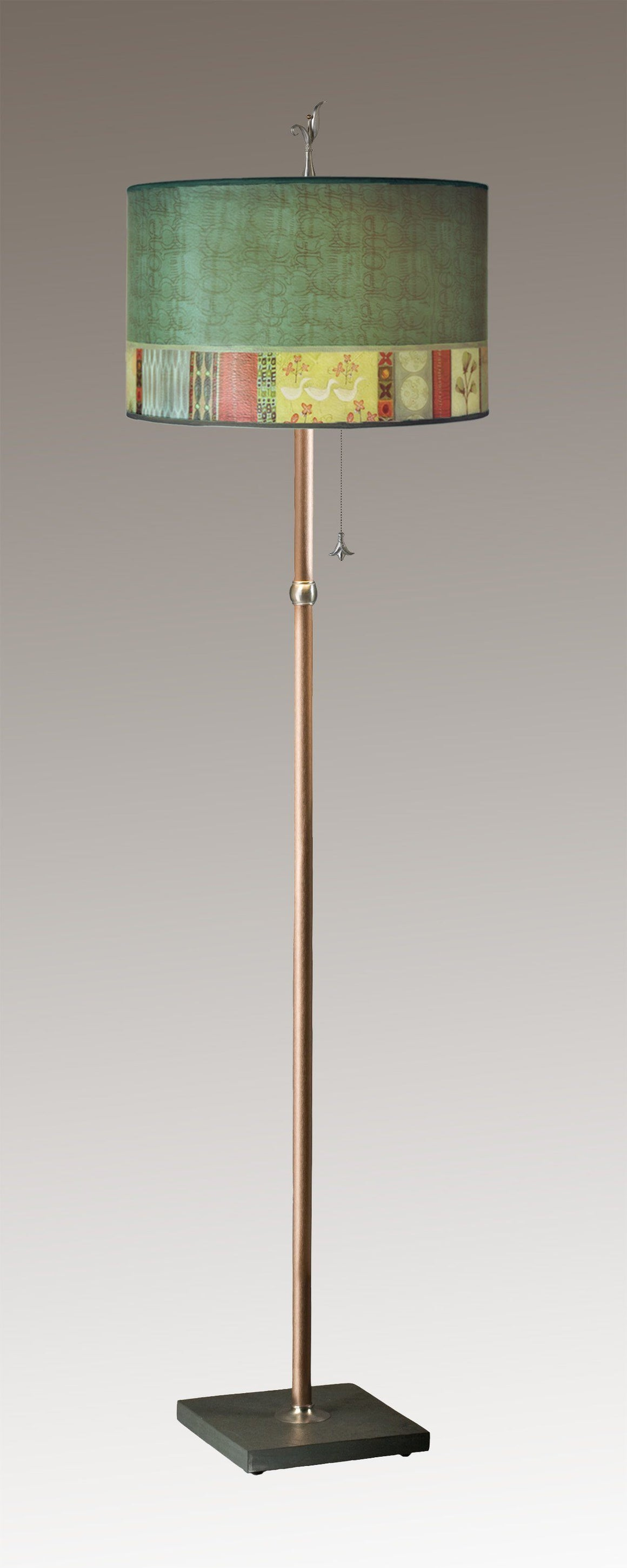 Copper Floor Lamp on Vermont Slate with Large Drum Lampshade in Melody in Jade