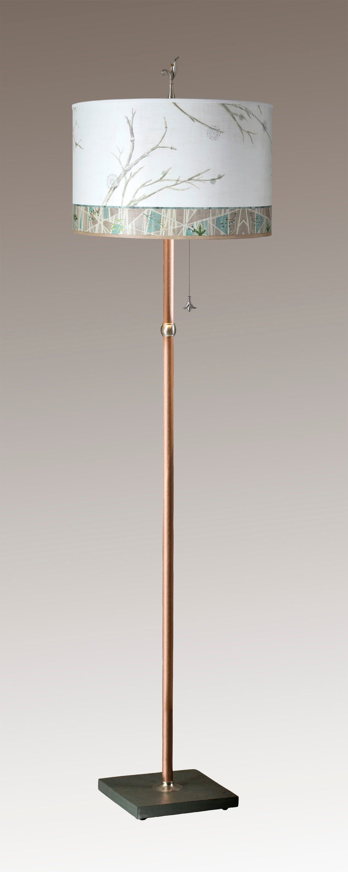 Copper Floor Lamp on Vermont Slate with Large Drum Lampshade in Prism Branch